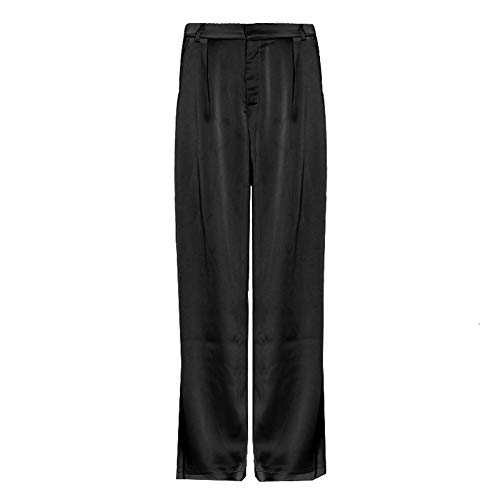 AOSUAI Pantalones Anchos Pierna Maxi Verano Pantalones for Las Mujeres de Cintura Alta de la Cremallera del Bolsillo Grande de Gran tamaño Pantalones Largos Ropa