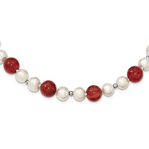 2di sà ¼ ãÿwasser coltivata Bracciale in argento Sterling Perle di Corallo Rosso &