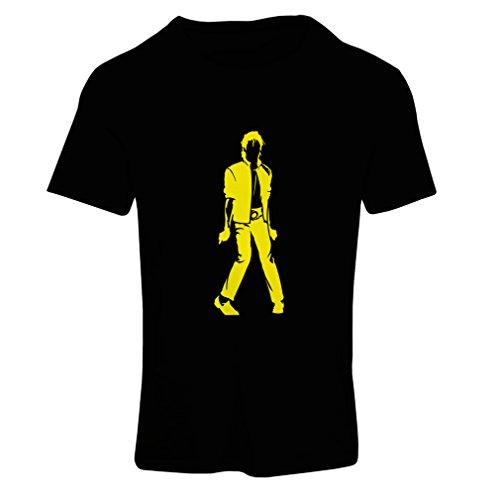 lepni.me Camiseta Mujer Me Encanta M J - Rey del Pop, 80s, 90s Músicamente Camisa, Ropa de Fiesta (XX-Large Negro Amarillo)