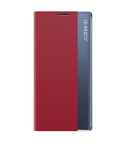 GOGME Funda para Xiaomi Mi 10T Lite 5G Flip Funda, Suave PU + Fuerte PC Carcasa Case Cover con Soporte, Ultrafino Cubierta Magnética para Xiaomi Mi 10T Lite 5G, Rojo