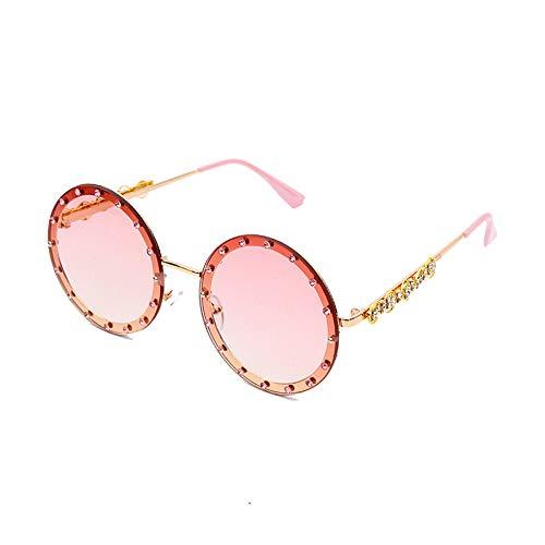 Burenqi@ Occhiali da Sole Rotondi di Cristallo Occhiali da Sole Donna con Marchio Occhiali da Sole Vintage in Metallo Occhiali da Vista retrò Femminili Uv400