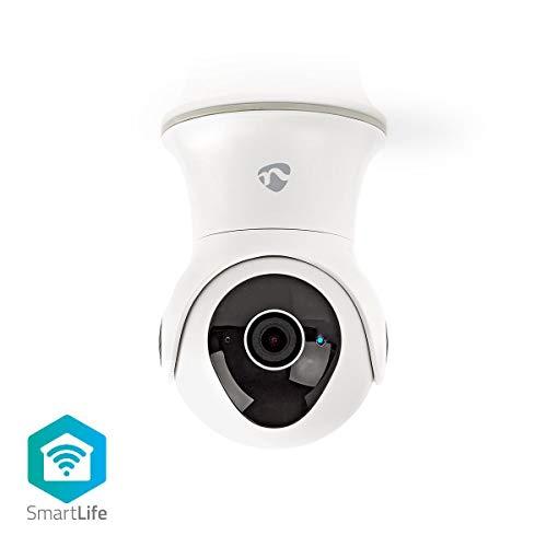 Nedis - Wi-Fi smart IP-camera - Draaien en kantelen - Full HD 1080p - Stekker Euro/Type C (CEE 7/16) - Voor buiten - IP65 Waterbestendig - Bewegingssensor - 2-Wegs Audio - Nachtzicht
