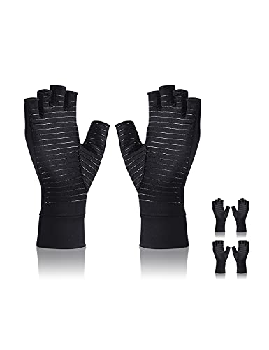 2 Pairs Copper infused Arthritis Gloves Fingerless Compression Gloves for Women Men Relieve Symptoms...