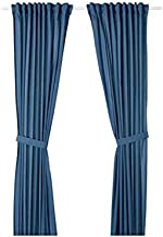 Double side curtains in blue color from IKEA