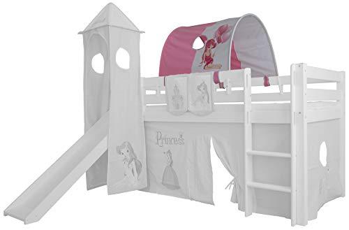 XXL Discount Tunnel voor kinderbed, 100% katoen, luifel, dak, beddak, hemel voor hoogslaper, speelbed, stapelbed, kinderbed roze/wit, prinses.