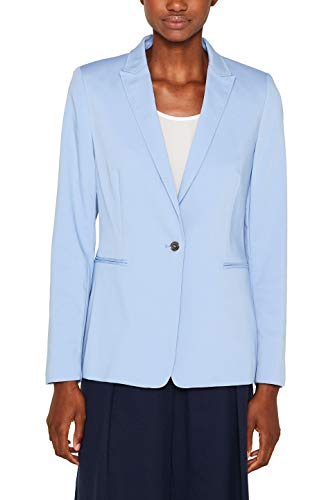ESPRIT Collection Damen 999Eo1G800 Anzugjacke, Blau (Light Blue 440), (Herstellergröße: 42)