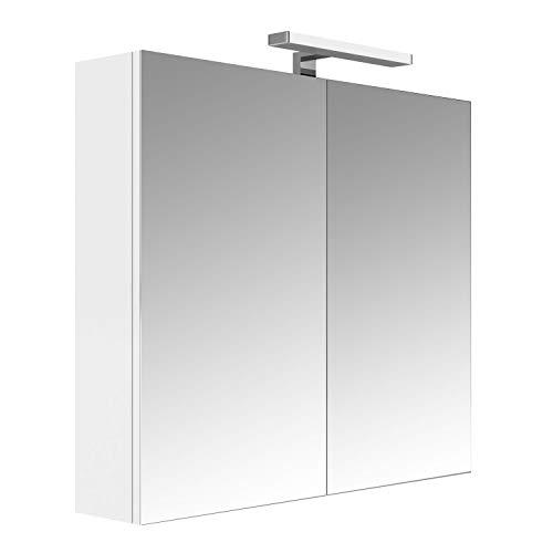 Allibert Juno Spiegelschrank, 80 cm, 2 Türen, Weiß