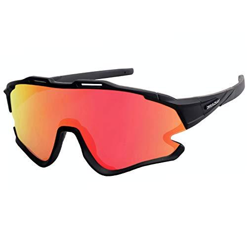GIEADUN Occhiali Ciclismo Polarizzati con 3 Lenti Intercambiabili Occhiali Bici Antivento e Antiappannamento Occhiali Sportivi da Sole Anti UV da Uomo Donna per Corsa, MTB e Running (Nero)