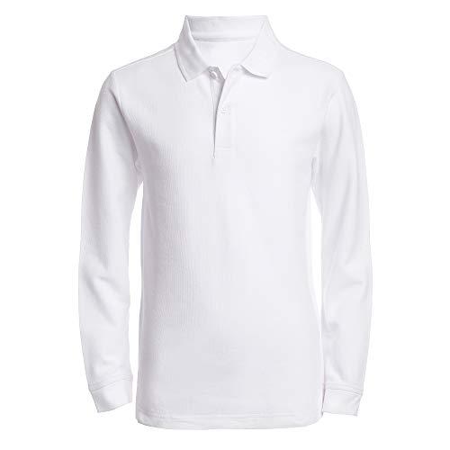 Nautica Big Boys' Uniform Long Sleeve Pique Polo, White, Medium/10/12