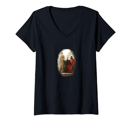 Mujer Jesús Mujer en el pozo A-090821 Camiseta Cuello V
