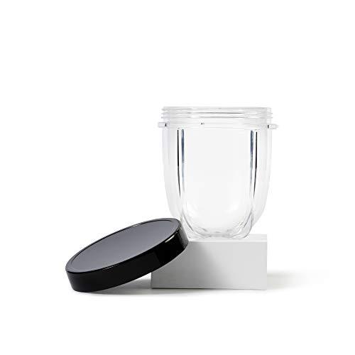 Magic Bullet Copo curto de 355 ml com tampa resselável, transparente/preto