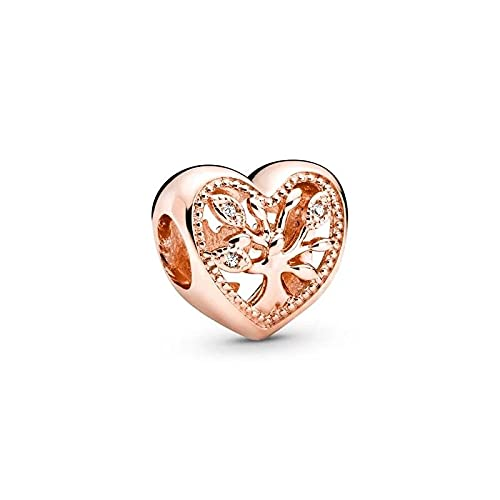 LIIHVYI Pandora Charms para Mujeres Cuentas Plata De Ley 925 Árbol De La Vida Oro Rosa Niña Fina Compatible con Pulseras Europeos Collars