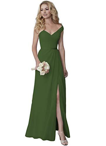 Lover Kiss V-Neck Bridesmaid Dresses for Women Off Shoulder Long Chiffon Formal Evening Dress with Slit Olive Green 2