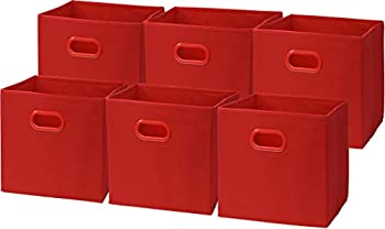 6 Pack - SimpleHouseware Foldable Cube Storage Bin with Handle Red