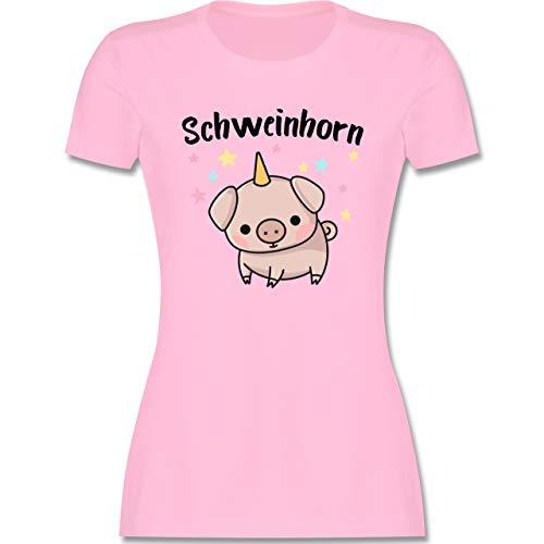 Karneval & Fasching - Schweinhorn - S - Rosa - Shirt Schweinchen - L191 - Tailliertes Tshirt für Damen und Frauen T-Shirt