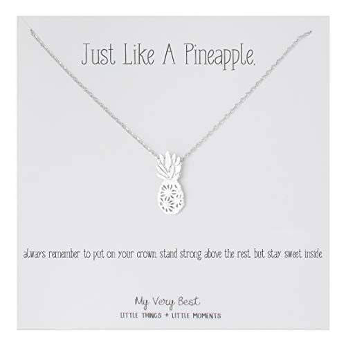 My Very Best Dainty Pineapple Necklace Just Like a Pineapple, Always Remember to Put on Your Crown, Stand Strong Above The Rest, but Stay Sweet Inside. (Silver Plated Brass)