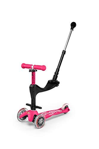 Micro-Mobility - Trottinette Mini 3-en-1 Deluxe - Trottinette Enfant Évolutive 3 Roues - Barre de poussée - Repose Pied - Siège en Mousse - Navigation par Transfert de Poids (Rose)