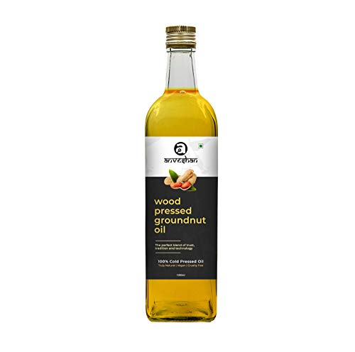 Anveshan Empowering farmers with technology Wood Pressed Groundnut Oil Glass Bottle, 1000ml (Kolhu/Kacchi Ghani/Chekku)