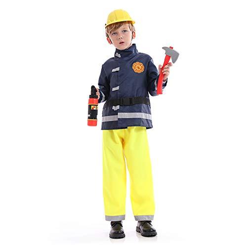N / A Cosplay Halloween Novedad Regalo niño Valiente Bombero Uniforme Profesional Navidad Fiesta Infantil Conjunto de Disfraces Body Height:120-135cm