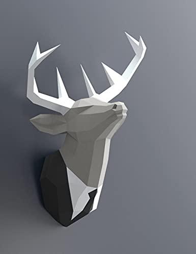 【壁掛けインテリア】 スーツを着た鹿 DIY ペーパークラフト… (黒のスーツ)