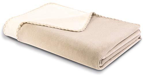 """biederlack® flauschig-weiche Kuschel-Decke I Made in Germany I Öko-Tex Made in Green I nachhaltig produziert I Wohn-Decke """"Shell"""" aus Baumwolle in beige-Ecru, Sofa-Decke in 150x200cm"""