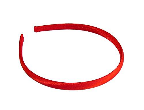 Femme Filles 1 cm simple en satin fin bandeau/bandeau – rouge vif
