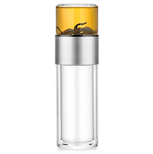 Thermos per tè in vetro – Doppia parete con infusore in acciaio – Bottiglia di tè portatile – Thermos per tè con filtro da portare – Bicchiere termico da viaggio e ufficio – 238 ml