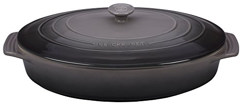 Le Creuset PG1140S -367F Stoneware Covered Oval Casserole, 3-3/4-Quart, Oyster