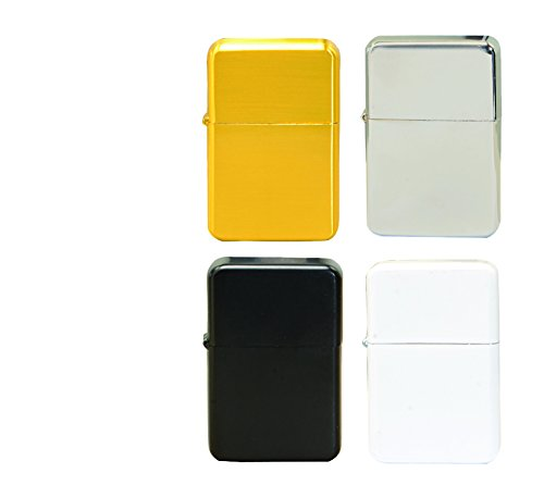 Thirsty Rhino Klik Windproof Refillable Oil Wick Lighter with Vintage Flip Top and Aluminum Gift Case Set of 4 Assorted Colors