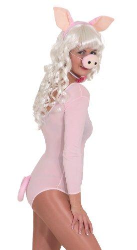 Schweine-Set : Haarreif mit Ohren, Nase, Schleife, Schwanz