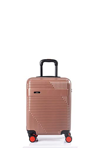 North CASE ABS 8 Wheels CCS Suitcase Luggage Trolley HARDCASE Lightweight Cabin Bag Burgundy-Black S (S, Pudra - Black)