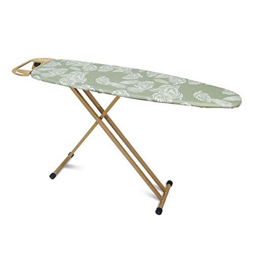 "Duwee Ironing Board with Heat Resistant Cover and 10mm Thicken Felt Padding,Strong Steel T-Legs,Safety Stream Iron Rest,Clothes Hanger,14""x54""Ironing Area"