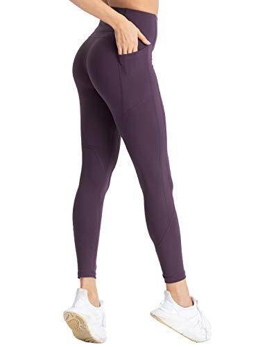 Hopgo Leggings de compresión para mujer con bolsillos 7/8 de cintura alta con control de barriga, Moderno / Equipada, M, Gris neutral