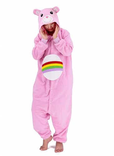 Adult Pink Bear Costume Pajamas Halloween Animal Cosplay Christmas Homewear Sleepwear for Women and Men