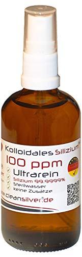 Kolloidales Silizium 100 ppm 100ml, Pumpsprüher, Ultrarein 99,9999%, immer frisch hergestellt (pharm. Sterilwasser, Braunglas-Euromedizinflasche, keine Lagerware!)