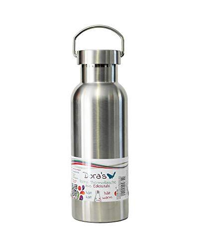Dora's Retro Trinkflasche Edelstahl Thermoflasche Farbe stahl 500 ml