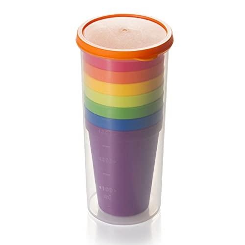 Cmstop Taza de 7 Piezas, Vasos de plástico, Juego de Batalla de Agua, Taza Divertida de Viaje de Picnic Reutilizable, Taza de Traje portátil, Taza de Bebida para niños, Taza de Agua