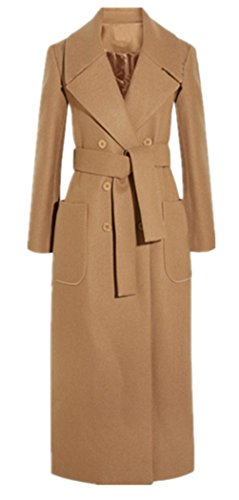 Foluton Damen Wintermantel Herbst Zweireihiger Wollmantel Maxi Lang Trenchcoat Cardigan Schlank Revers Parka Coat Outwear Mit Gürtel