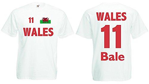 World-of-Shirt Herren T-Shirt Wales EM 2016 Trikot Bale Nr.11 Weiss-S