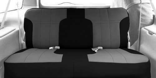 CalTrend Front Row Solid Bench Custom Fit Seat Cover for Select Chevrolet/GMC Models - NeoSupreme (Light Grey Insert and Black Trim)
