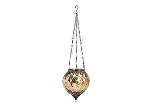 Windlicht Marokko Dekor zum Hängen aus Glas, Metall (B/H/T) 15x19x15cm