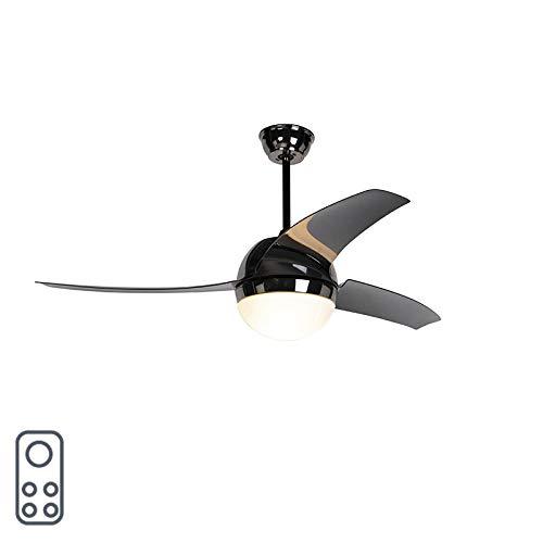 QAZQA Moderne Ventilateur de plafond noir avec télécommande - Bora 52 verre/Plastique/Acier Noir Rond E27 Max. 2 x 20 Watt/Luminaire/Lumiere/Éclairage/intérieur/Salon/Cuisine