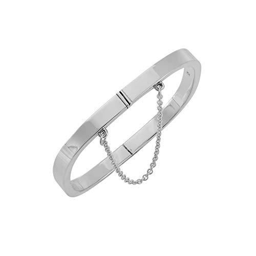 Silverly Women's .925 Sterling Silver Square Tube Plain Hinged With Chain Bangle Bracelet