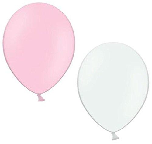 50 Luftballons je 25 rosa & weiß Qualitätsballons 27 cm Ø (Standardgröße B85)