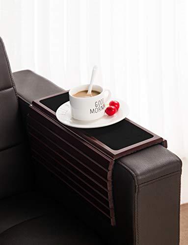 Bandeja de Madera de bambú para sofá o sillón, Flexible/Plegable Mesa de Brazo para sofá Bebidas, Aperitivos, Mando a Distancia o teléfono. Gran Bandeja para reposabrazos de sofá.