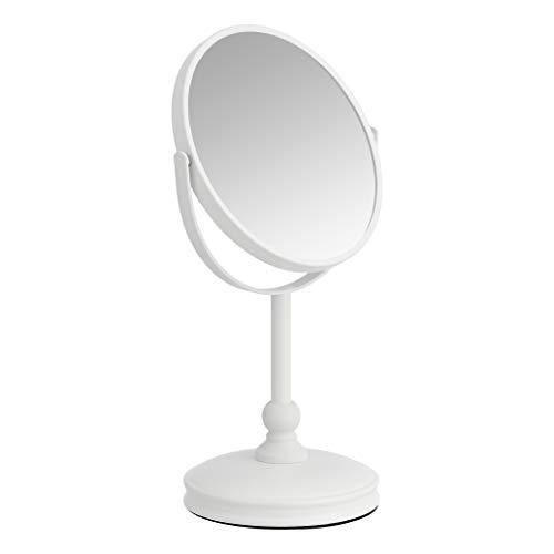 AmazonBasics – Kosmetikspiegel mit schwerem Standfuß, Vergrößerung 1-fach/5-fach, Weiß