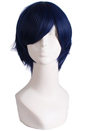MapofBeauty Men's Short Straight Wig Cosplay Costume Wig (Midnight Blue)