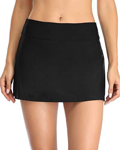 Yonique Womens Swim Skirt Black Bathing Suit Bottoms Mid Waist Swim Bottoms Elastic Waist Swimsuit Bottoms Black L