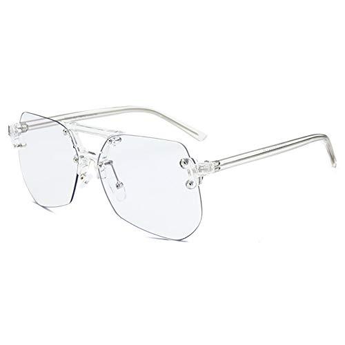 KOOSUFA Mode Anti Blaulicht Brille Polygon Rahmenlos Blaulichtfilter Ultra Licht Brillengestelle für Damen Herren UV400 Schutz mit Brillenetui (Durchsichtig Brillenbeine)
