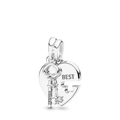 Pandora 925 plata esterlina DIY colgante joyería brillante corazón colgante clave colgante compatible pulsera joyería